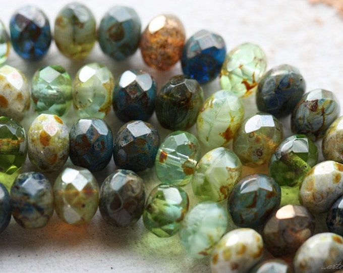 SUMMER BLISS .. 25 Premium Picasso Mix Czech Rondelle Beads 6x8-9mm (4622-st)