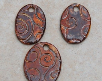 Handmade Pottery Beads 3 piece set, in Copper Swirl