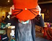 Cat Pillow, Orange Fleece, Hand Stitched
