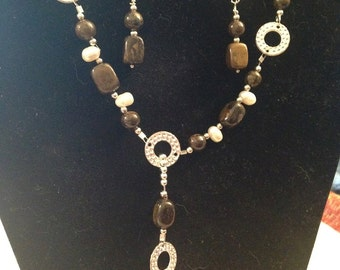 Freshwater Pearl and Brown Glass Jewelry Set