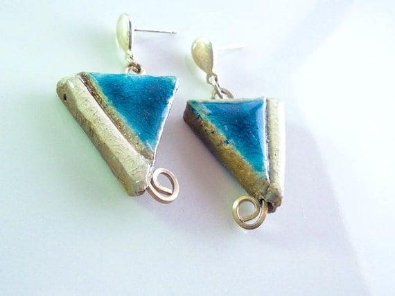 Turquoise Raku earrings, Raku, sterling silver, turquoise gems pottery, turquoise,handmade earrings, handicraft, italian, ceramic jewel