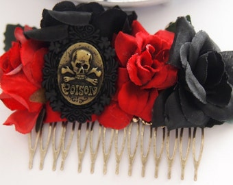 Poison Cameo Floral Hair Comb -  Fascinator Gothic Dark Victorian Mourning Skull Wedding Prom Formal