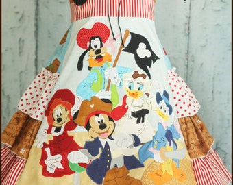 Minni Mickey Pluto Daisy and Donald Disney Gang Pirate Dress Girls Sizes 4 5 6 7 8 9 10