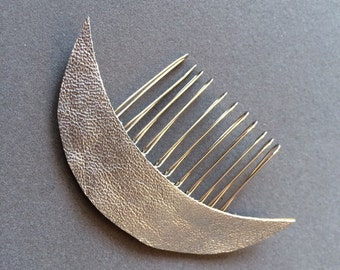 Silver Leather Crescent Moon Celestial hair comb