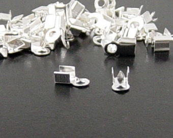 Cord Tips 50 9mm Fold Over End Clamp Jewelry Connector Crimp (1034con09s1)