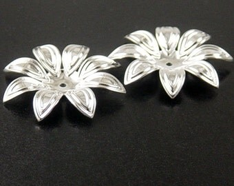 CLEARANCE Silver Bead Cap 6 Shiny Silver Flower Filigree Victorian 8 point 28mm (1143cap28s1)os