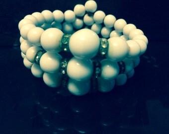 Beaded bracelet memory wire and rhinestones