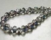"Half Metallic Blue Crystal Bracelet 8.5"" Silver"