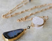 Agate Necklace - Druzy Necklace - Ready to Ship - Gold Edged Pendant- Gold Dipped Necklace- Blue Stone Necklace