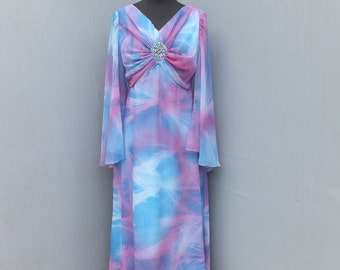 Vintage 1970s Emma Domb of California Maxi Dress  Size 14 Floaty Butterfly Sleeves