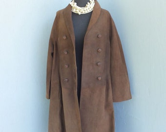 Vintage 1950s/60s Vallejo Ave Jose Antonio Leather/Suede Coat, Fabulous Amber Rhinestone Buttons