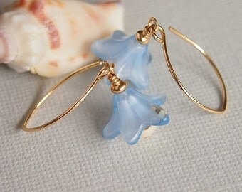 Blue Glass Flower Earrings, 14kt Gold Filled Beaded Earrings, Freshwater Pearl Earrings - HYACINTH