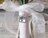 Silver Photo Frame Bouquet Charm, Brides Bouquet Charm, Square Frame