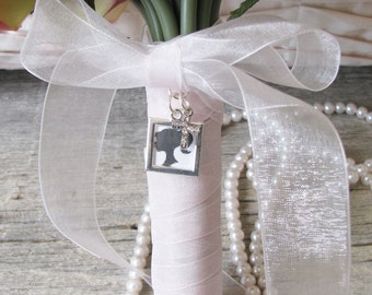 Silver Photo Frame Bouquet Charm, Brides Bouquet Charm, Square Frame Boutonniere Locket