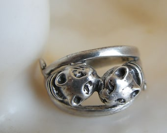 KISSING KITTIES Vintage Sterling Silver ring