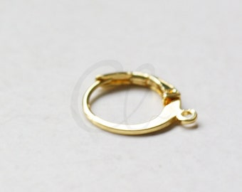 4pcs (2 Pairs) Premium Gold Plated Brass Base Earring Hooks-Round Lever Back 14.8x12.2mm (3034C-I-426)