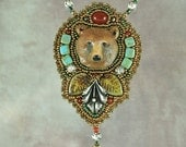 RESERVED FOR ANN Handmade Polymer Clay Bear with Vintage Silver  Bead Embroidered Necklace