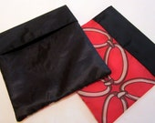 Reusable Sandwich Bag--Blustery Day FlipFlap Sacks--Red Chain with Black Front