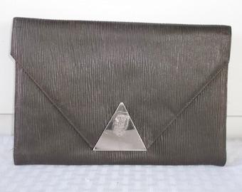Clearance 30s 40s Vintage Leather Art Deco Envelope Clutch Purse
