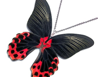 Real Butterfly Wing Necklace / Pendant (WHOLE Papilio Rumanzovia Butterfly - W030)