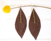 recycled brown leather feather earrings, brown, dangle, feathers, handmade, tassel earrings, ear, stacylynnc