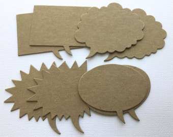 Caption Quote Boxes - Chipboard Die Cuts - Bare Embellishments - 4 Styles (Buy in Sets or Pick Style)