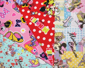 Disney fabric scrap  Minnie Mouse  print 25 cm by 25 cm or 9.6 by 9.6 inches each piece 2015Aa