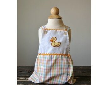 1970s Pastel Plaid Sunsuit~Size 3 Months
