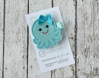 LIMITED EDITION Aqua Octopus Felt Hair Clip - Super cute felt hair bow -  Ocean, Beach and Marine Inspired Hairbow with non slip grip clip