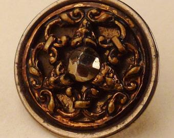 VICTORIAN BUTTON STEEL and Brass Three Masks design  design 5/8 in
