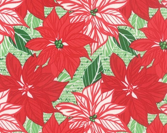 Clearance FABRIC Retro POINSETTIAS from JINGLE by Moda 1/2 Yard