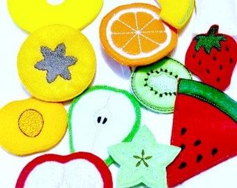 Felt play food - pretend food - play kitchen food - Vegetarian fruit - 11 pieces - kids play kitchen #PF2558