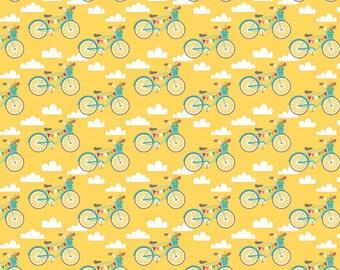 Riley Blake Fancy Free Yellow Bikes fabric