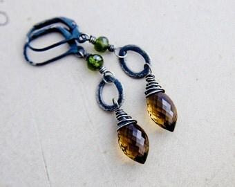 Whiskey Quartz Earrings, Dangle Earrings, Quartz Earrings, Sterling Silver, Vesuvianite, Green, Long Earrings, Gemstone Earrings, Earth