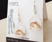 Silver Cosmic Swarvoski Teardrop Earrings - E376SS-Golden - handmade wire jewelry by cristys jewelry on etsy