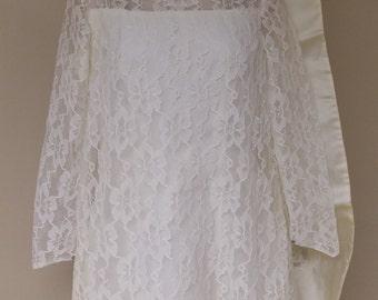 Sheer white lace ivory satin aline wedding dress vintage detached train