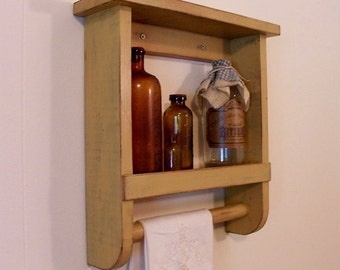 Primitive Towel Shelf Simple Bathroom or Kitchen Storage Farmhouse Cottage Shabby Chic / Color Choice