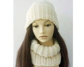 Custom Hand Knit Hat and Cowl Set, Chose Color,  Neck Warmer, Neckwarmer,  Women's Winter Hat, Cowl Scarf