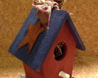 Red, White, and Blue Primitive Mini Birdhouse