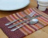 set of 4 handwoven cloth napkins: raspberry + stripes