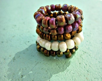 Chunky Glass Beaded Adjustable Stackable Memory Wire Wrap Rings, Choose Your Color: Babylon
