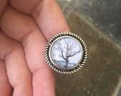 Winter Tree - glass statement ring