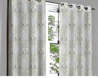 Artistic Purple Beige Grommet Blackout Lined Curtain in Textured Jacquard Weave Fabric Housewares Window Treatment Drapes Curtain Panels