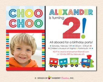 Colorful Choo Choo Train - Birthday Party Invitation (Digital File OR Printed Cards Also Available)