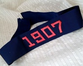 Antique 1907 embroidered ribbon band, navy blue silk, historical commemorative, vintage supply