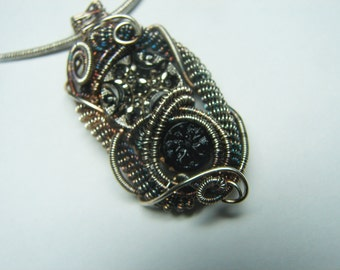 Antique Victorian Black Glass Button Pendant-Sterling & Fine silver-Vintage Button Jewelry -Gothic-wire wrapped and woven- sculpted wire
