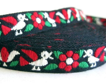 Vintage Embroidered Trim - Ribbon with Red Flowers and Birds  Boho Hippie Red Green Black - Sewing Supplies