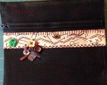 Zippered Mesh Bag..Alphabet Fabric insert...Needlework project bag..ready to embellish...stitcher gift bag..embroidery zippered project bag