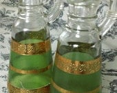 Vintage Oil & Vinegar Glass Serving Set, Green and Gold Detail, with Glass Stoppers