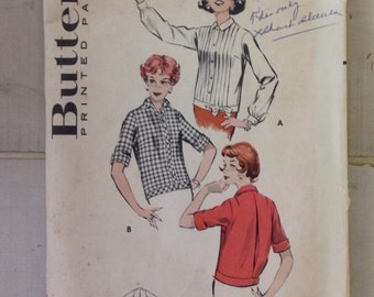 Vintage 1950s Butterick 8680 Long or Short Sleeve Pleated Blouse--vintage pattern